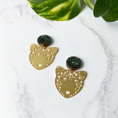Statement Gold Drop Leopard Earrings