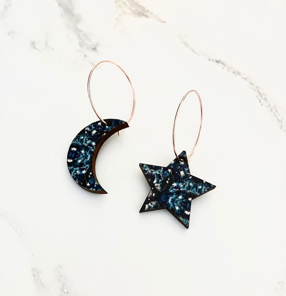 Moon & Star Hoop Earrings