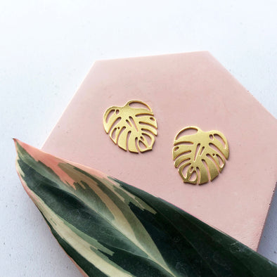 Gold Monstera Stud Earrings
