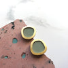 Circle Stud Earrings - Mint & Brass
