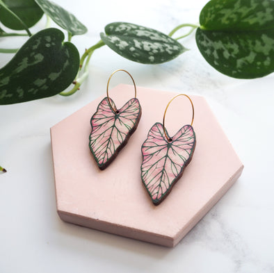 Pink Caladium Hoop Earrings