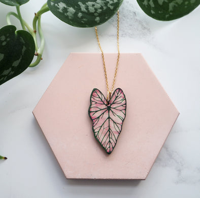 Pink Caladium Necklace