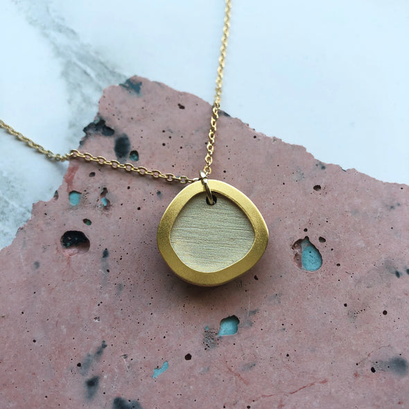 Cream & Gold Circle Pendant