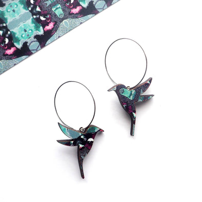 Blue & Purple Hummingbird Hoop Earrings