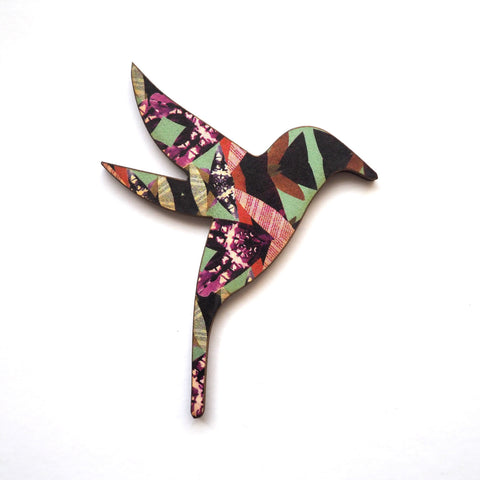 Hummingbird Wooden Brooch - Multi Pattern