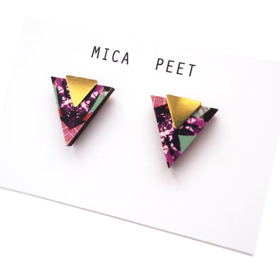 Triangle Geometric Earrings - Brass & Multi Pattern