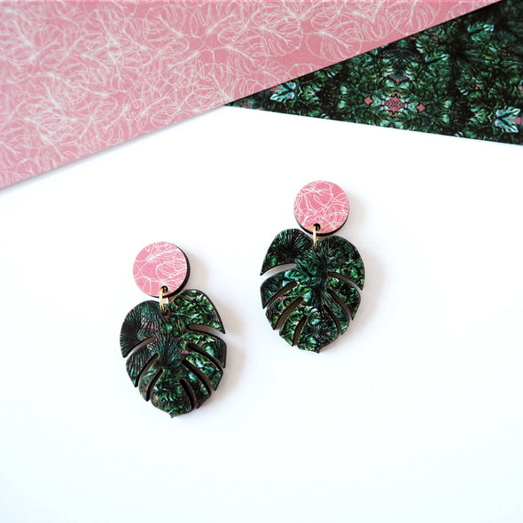 Monstera Drop Earrings