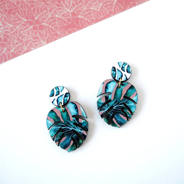 Tropical Monstera Statement Earrings