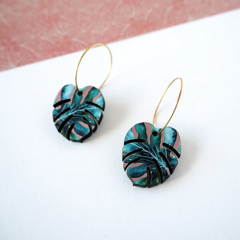 Cheese Plant Hoop Earrings