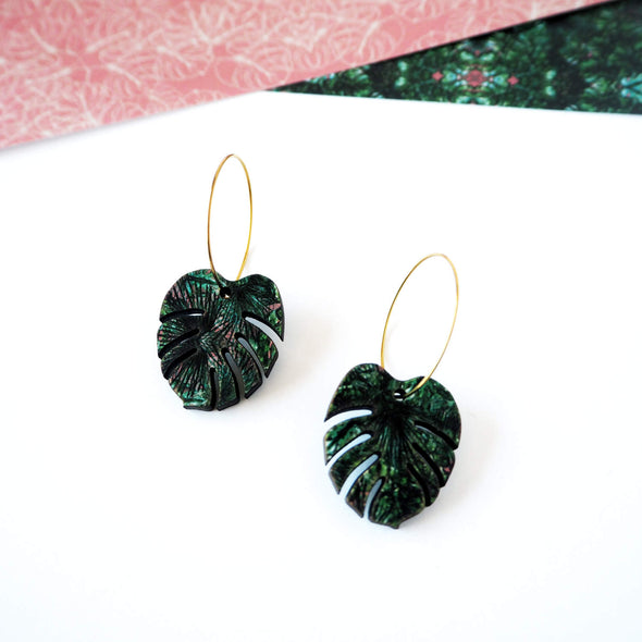 Green Plant Hoop Earrings