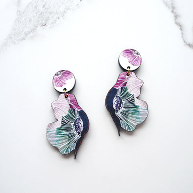 Anemone Flower Drop Earrings - Blue
