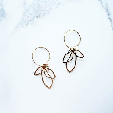 Gold Petal Hoop Earrings