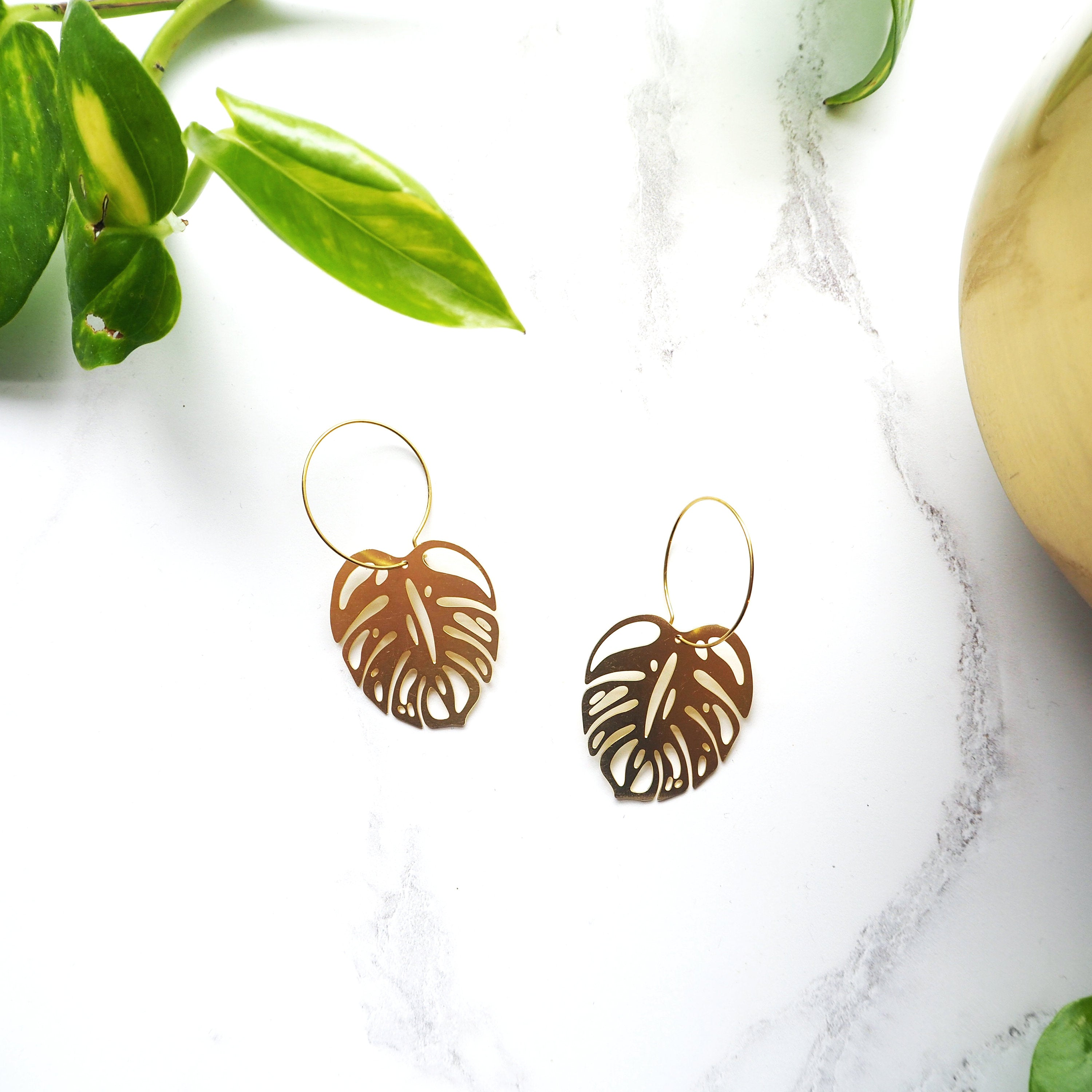 16a6a6d61 Gold Monstera Hoop Earrings – Mica Peet