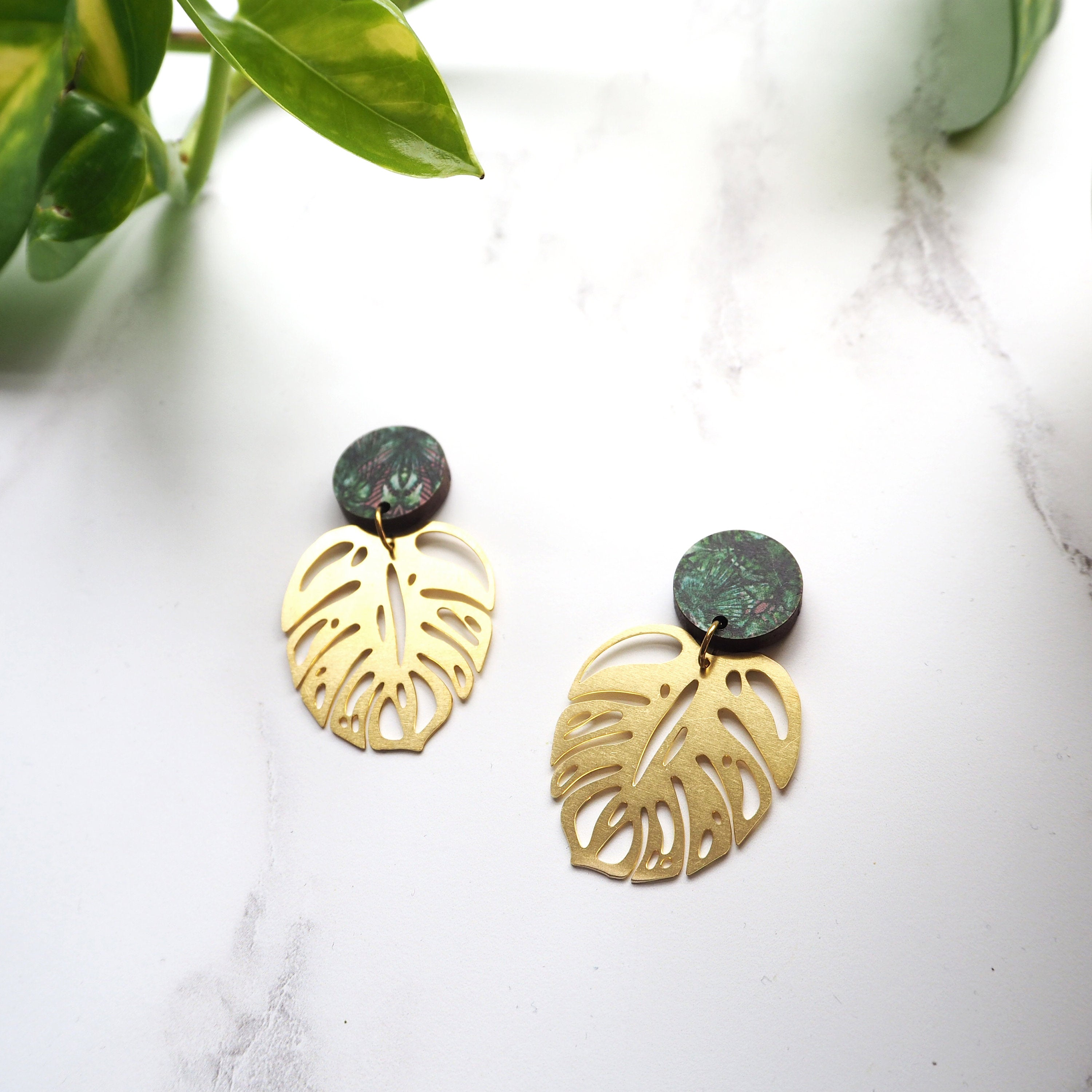 161d3bf9b Gold Statement Monstera Earrings – Mica Peet