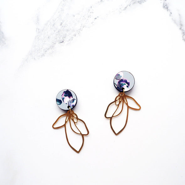 Gold Flower Petal Drop Earrings - Blue