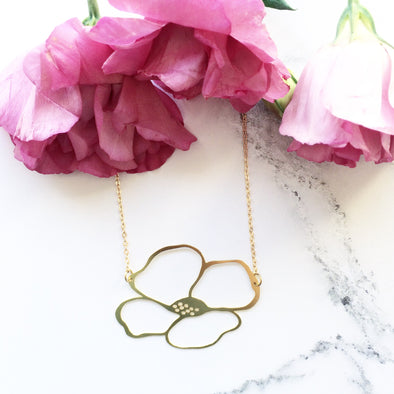 Modern Gold Anemone Floral Necklace