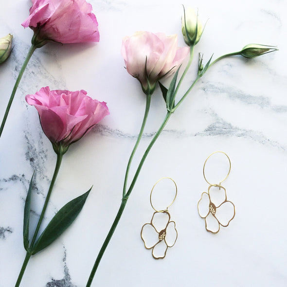 Minimal Gold Anemone Floral Hoop Earrings