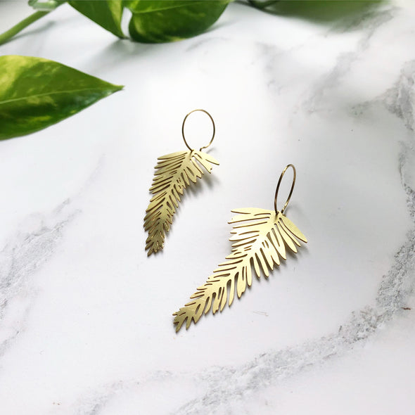 Gold Palm Leaf Hoop Earrings