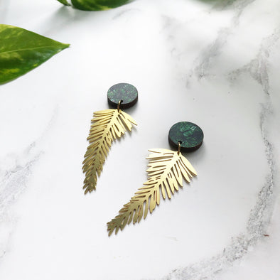 Gold Palm Leaf Earrings