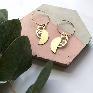 Gold Geometric Semi Circle Hoop Earrings