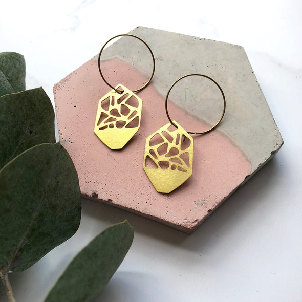 Asymmetric Gold Geo Hoop Earrings