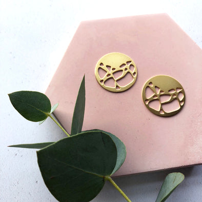 Gold Disc Circle Stud Earrings