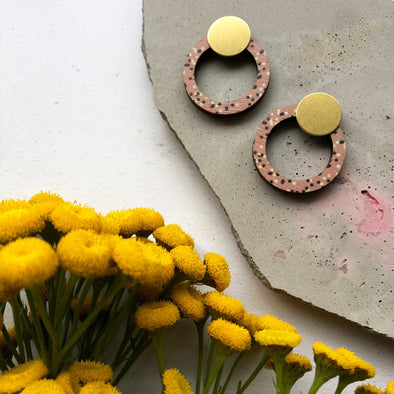 Minimal Pink & Brass Ring Stud Earrings