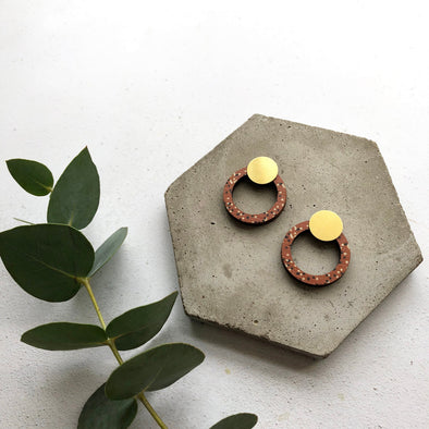 Geometric Circle Stud Earrings - Burnt Orange & Brass