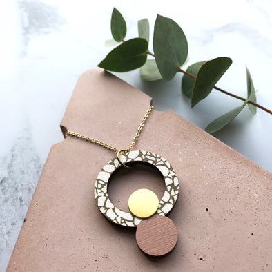 Terrazzo Brass Circle Necklace - Pink & Olive