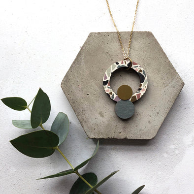 Terrazzo Brass Circle Necklace