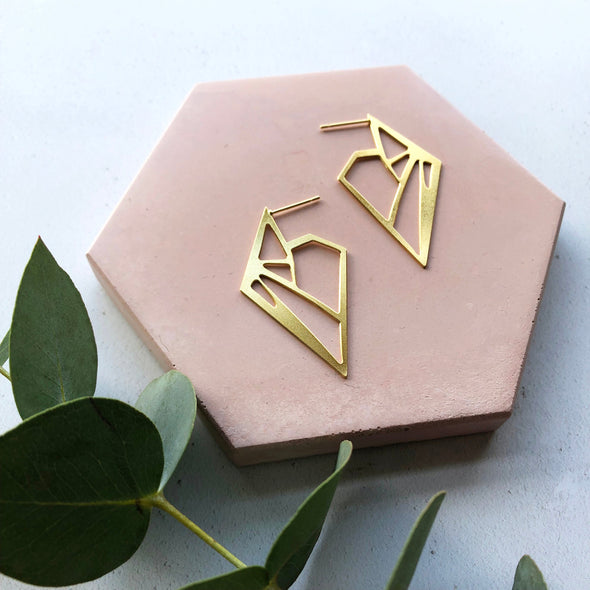 Statement Triangle Stud Hoop Earrings