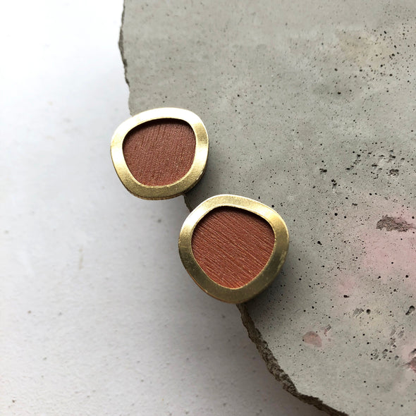 Burnt Orange & Brass Minimal Round Stud Earrings