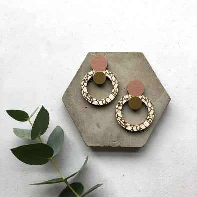 Terrazzo Statement Circle Drop Earrings