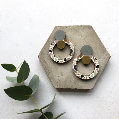 Multi Terrazzo Statement Circle Drop Earrings