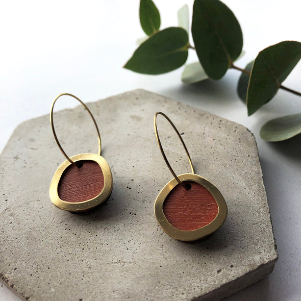 Burnt Orange & Brass Circle Hoops