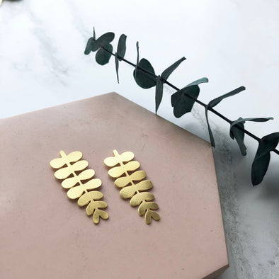 Gold Leaf Stud Earrings - Minimal Botanical Studs