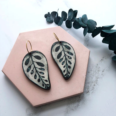 Calathea Makoyana Hoop Earrings