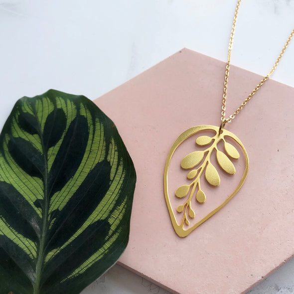 Gold Calathea Leaf Necklace