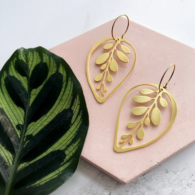 Gold Leaf Hoop Earrings - Calathea Makoyana Earrings