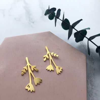 Gold Flower Bloom Stud Earrings