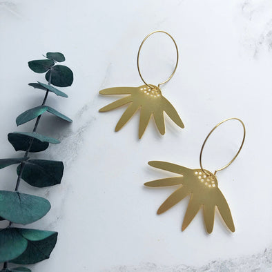 Gold Daisy Hoop Earrings