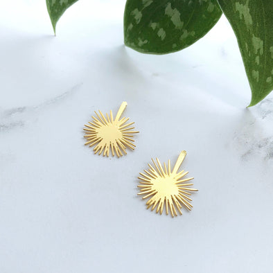 Gold Palm Leaf Stud Earrings