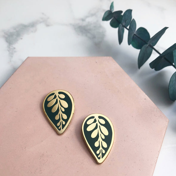 Enamel Leaf Earrings
