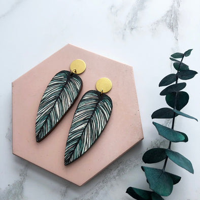 Tropical Statement Leaf Earrings - Calathea Whitesar