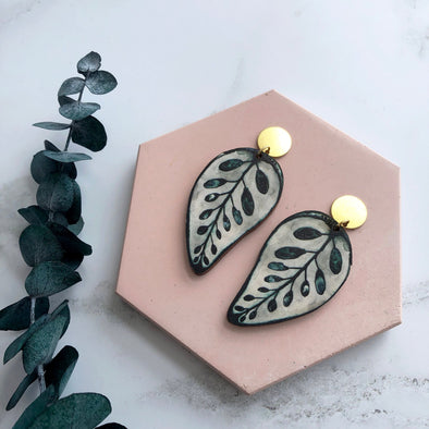 Calathea Makoyana Statement Drop Earrings
