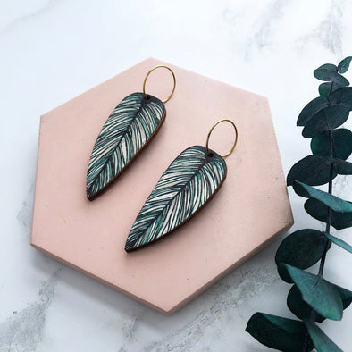 Tropical Hoop Leaf Earrings - Calathea Whitesar Earrings