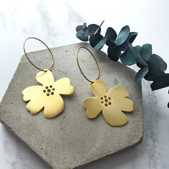 Minimal Gold Flower Hoop Earrings