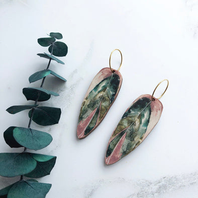 Pink Leaf Hoop Earrings - Calathea Stromanthe Triostar