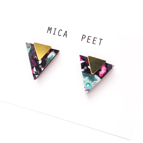 Geometric Triangle Earrings / Studs - Blue