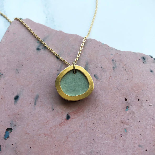Mint & Gold Circle Pendant - Minimalist Geometric Necklace